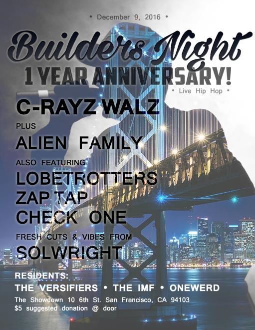 Builders 1 year anniversary poster